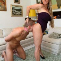 Non nude mistress Holly Halston hikes her sundress and makes her submissive slurp her butt and gash