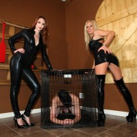 Non nude damsels Zoey and Kendra deny a hooded masculine submissive from having an ejaculation