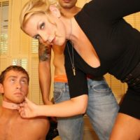 Collared subby hubby coerced to blow a huge cock by platinum-blonde Ashley Edmunds