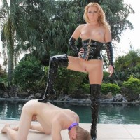 Brutish blonde mistress Ashley Edmunds demeaning collared subby hubby