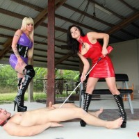 Masochistic dolls Kimmy and Alexia produce COCK AND BALL TORMENT treatment to a naked masculine in lengthy boots