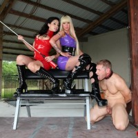 Sadomasochistic women Kimmy and Alexia supply COCK BALL TORMENT treatment to a naked male in long boots