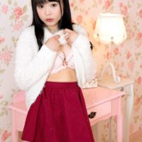 Adorable Asian nubile Yui Kawagoe discarding mini-skirt and lingerie to pose in the nude