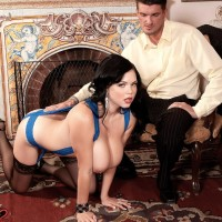Black-haired babe Shione Cooper slurping dick while showcasing adorable hooters in pantyhose