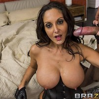 Black-haired female Ava Addams titties bangs and gargles a penis after a firm bum banging