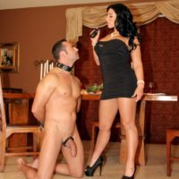 Dark haired mistress Bella Reese has her submissive hubby adore her booty while collared