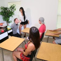 Dark haired tutor Jamie Valentine makes her students get nude during sex ed class