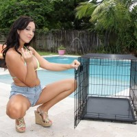 Black-haired wife Adriana Lily pegs her sissy over a dog box on poolside patio