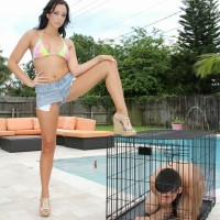 Dark haired wife Adriana Lily pegs her sissy over a dog cell on poolside patio