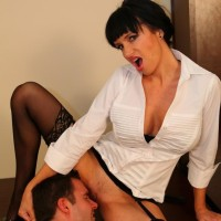Dark haired girlfriend Angie Noir possesses a whip before having her cootchie worshipped