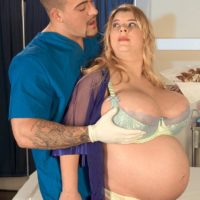 Insatiable ash-blonde big hot lady Sunshine having gigantic breasts massaged by physician in exam apartment