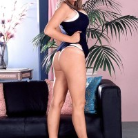 Filthy sandy-haired MILF Kelly Kay displays upskirt skivvies and her ass cheeks