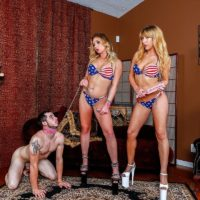 Mistress Mickey Tyler & Goddess Kelly Paige use a sissy as they sate