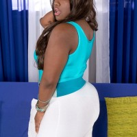 Black BIG SEXY WOMAN Stacy Enjoy has her enormous ass kneaded in a body-suit and stilettos