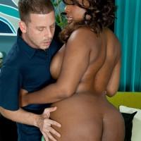 Ebony MILF Layla Monroe unveils her humungous ebony backside as her and a white dude undress