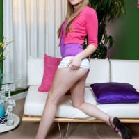 Eighteen year senior amateur girl Cassidy Ryan loosing very little hooters from brassiere