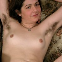 Euro amateur Gypsy showcasing pierced swell nips, wooly armpits and hairy pubic hair