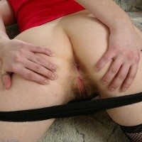 European first-timer in braided pigtails demonstrating tiny boobs and unshaven fuckbox