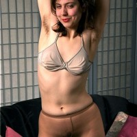 Euro first-timer baring really furry vag from milky panties and pantyhose