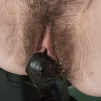 Euro amateur Yana Cey frigging her hairy cooter while riding absorption faux-cock