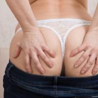 European first timer Yulenka Moore displaying hairy vagina underneath milky underwear