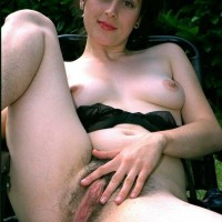 European brown-haired amateurs exhibit furry armpits and beavers in the backyard