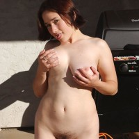 Euro brown-haired amateurs show furry armpits and fuckboxes in the backyard