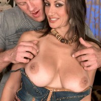 Euro MILF adult film starlet Persia Monir having large funbag whipped out during make-out