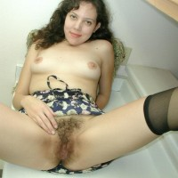 Euro solo models showcase off their hairy all-natural beavers after panty removal