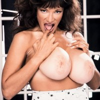 Notorious XXX vid star Busty BriAnna plays with her nips while showing her giant breasts