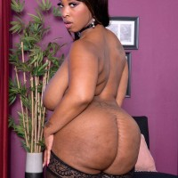 Over weight ebony solo female Virgin Blossoms vaunting huge ass in stockings and lingerie
