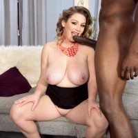 Plus sized girl Harmony White tempts a black guy with her humungous knockers and hefty ass-cheeks