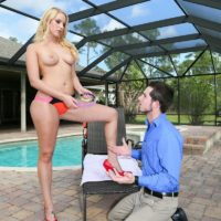 Gawky blonde wife Vanessa Cell having subby hubby sniff her cooter and bum in high heeled footwear