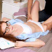 Glasses wearing college girl Alice Lime green unveiling petite nubile juggs in underwear