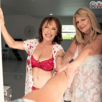 Grannie adult film starlet Luna Azul and a nan acquaintance of hers de-robe and blow a junior boy