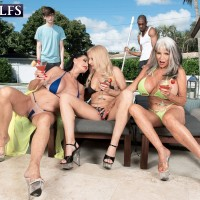Grannie pornostar Rita Daniels and her wives tempt the pool cleaning studs