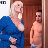 Filthy Sixty plus MILF Leah L'Amour tempts a junior man in the sauna before providing a BJ