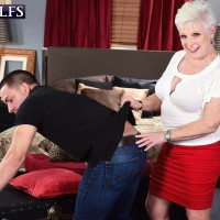 Horny MILF on the other side of 60 Jewel tempts a younger dude before tonguing his cock