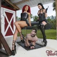 Cool stunners Daisy Ducati and Raven Bay dominate male slaves during outdoor act