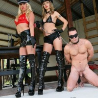 Cool platinum-blonde Virgin Morgan and another sadomasochistic stunner trample a nude stud with lengthy boots