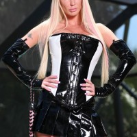 uber-sexy ash-blonde Domina Alexia Jordon rides a hooded masculine sub in latex by the pool