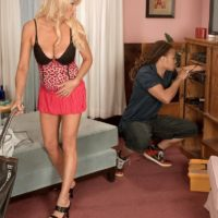 Tempting fair-haired grandmother with superb legs Natasha seduces a blows a junior black stud