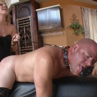 Mind-blowing blonde wife Ashley Edmunds makes her sub husband suck her strapon penis