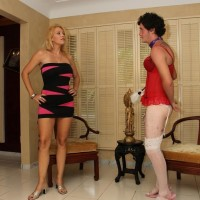 Super-sexy platinum-blonde girlfriend Charlee Pursue compels her crossdressing sissy hubby to his knees