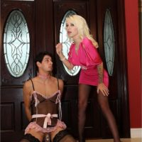 Spectacular fair-haired gf Victoria puts her sissy hubby Stevie into lingerie and pantyhose