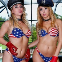 stellar blondes Mickey Tyler and Kelly Paige dominate a masculine slave in USA themed bathing suits
