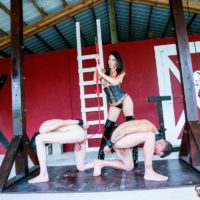 Provocative dark haired Domme Dava FoXX abusing and abasing two male subs