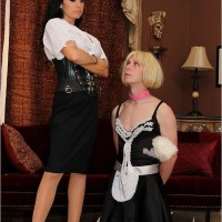 Sweet brown-haired Emmanuelle London puts her subby spouse in a maid apparel