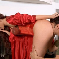Cool brown-haired MILF Caroline Pierce has her giant butt and cooter blown in a satin corset