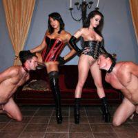 Sumptuous chicks Adriana Lynn and Mia Li make slave males idolization their bare booties